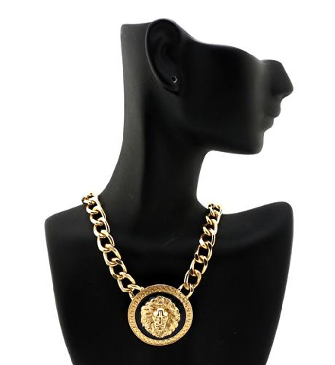 Celebrity Inspired Gold Black Lion Head Necklace
