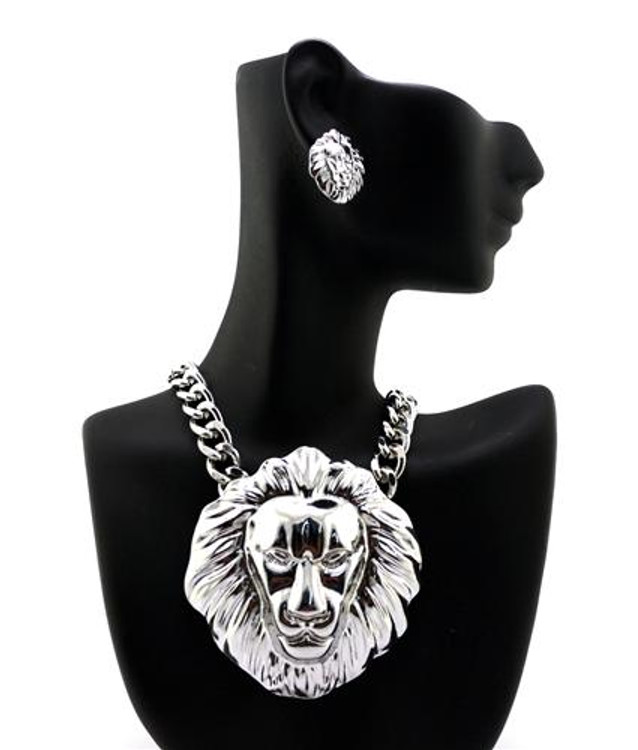 .925 Silver Silver Lion Head Pendant Earrings Set