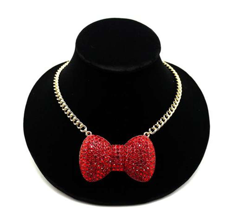 Red Stone Big Love Bow Tie Ribbon Pendant Necklace Gold