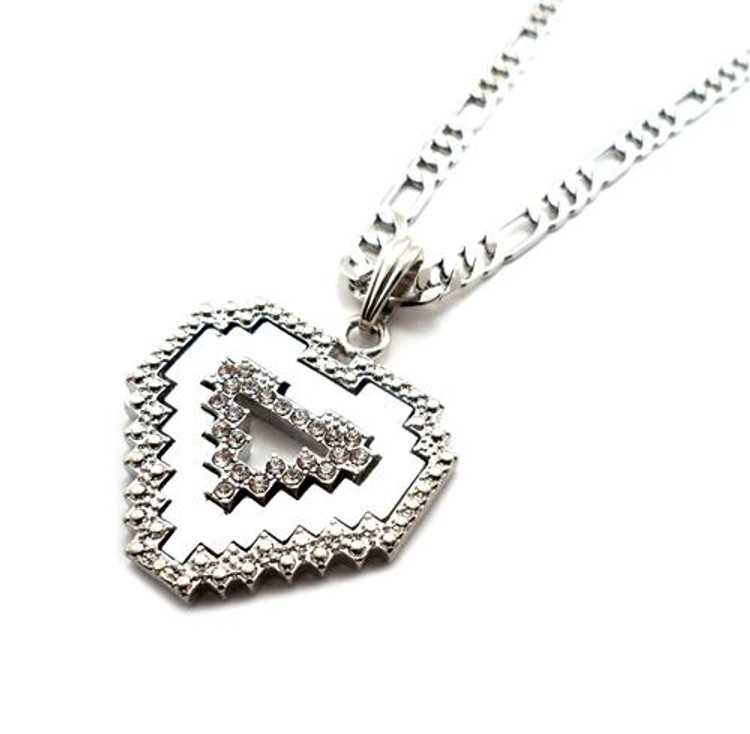 Diamond Cz Digital Heart Pendant Chain Necklace Silver