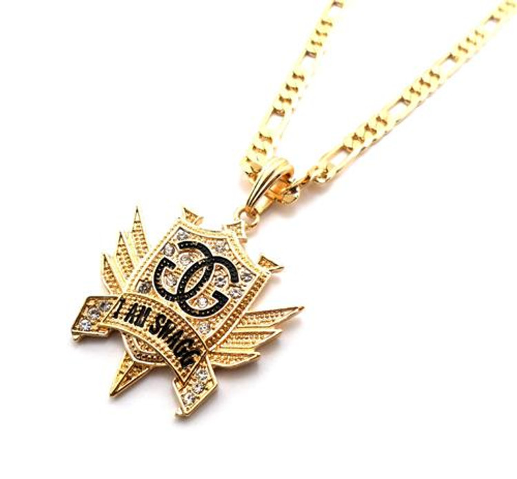 I Am Swagg Gold Cz Hip Hop Pendant