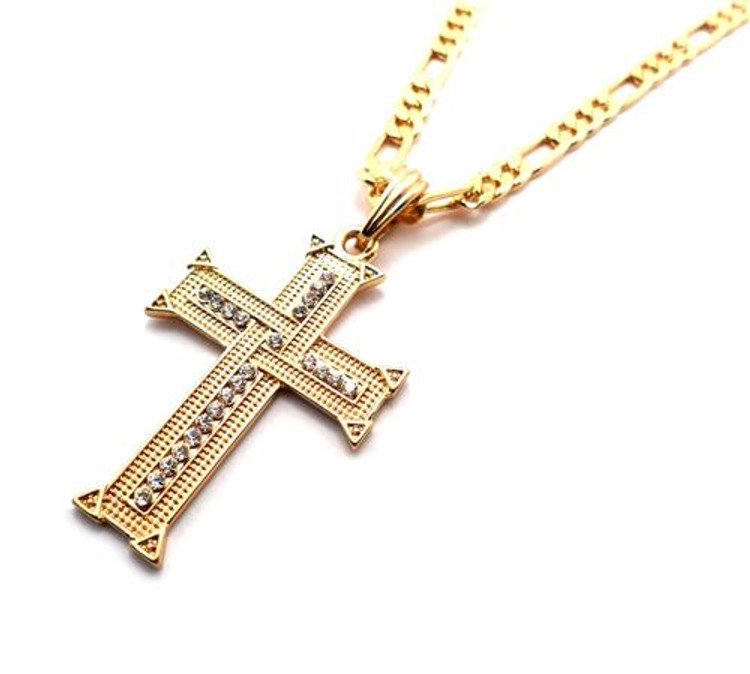 Knit Cross Pendant w/ Figaro Chain Gold