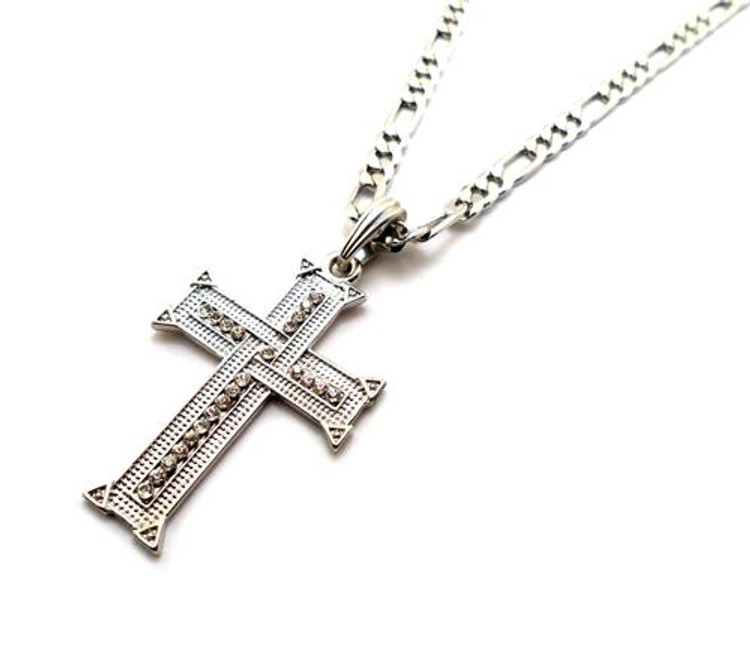 Knit Cross Pendant w/ Figaro Chain Silver