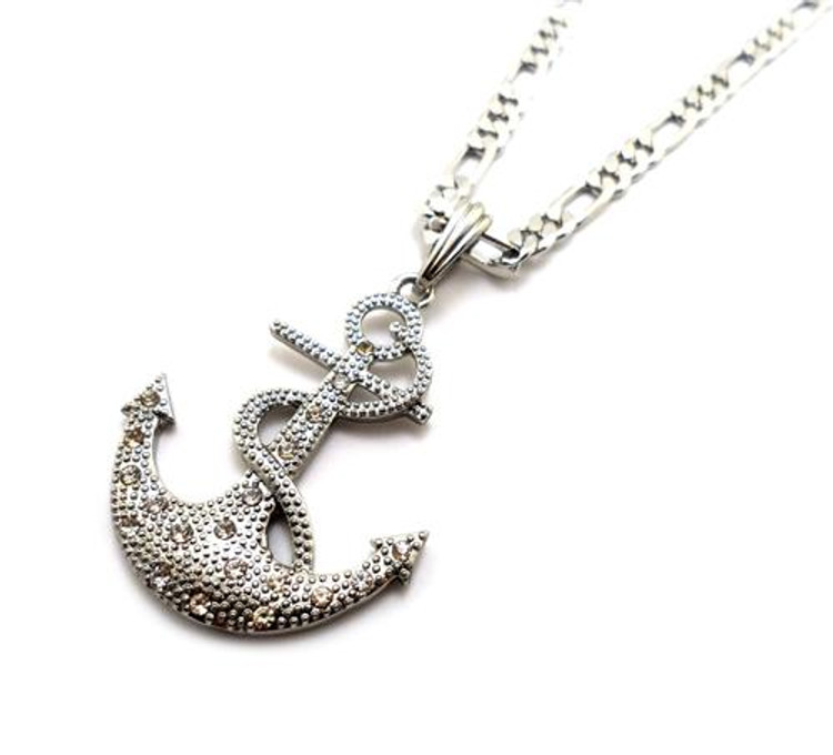 Anchor Cross Pendant w/ Figaro Chain Silver