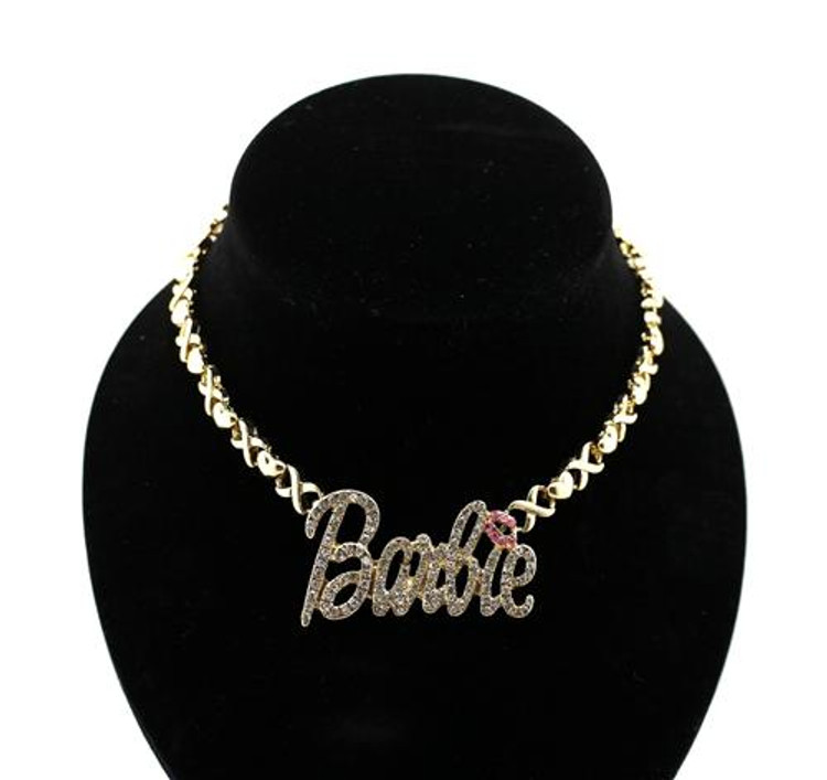 Cz Barbie Pendant w/ Heart Necklace Gold