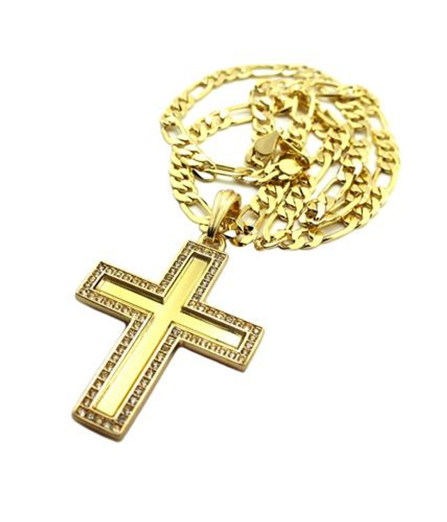 Deep Set Flat Cross Pendant w/ Figaro Link Chain Gold