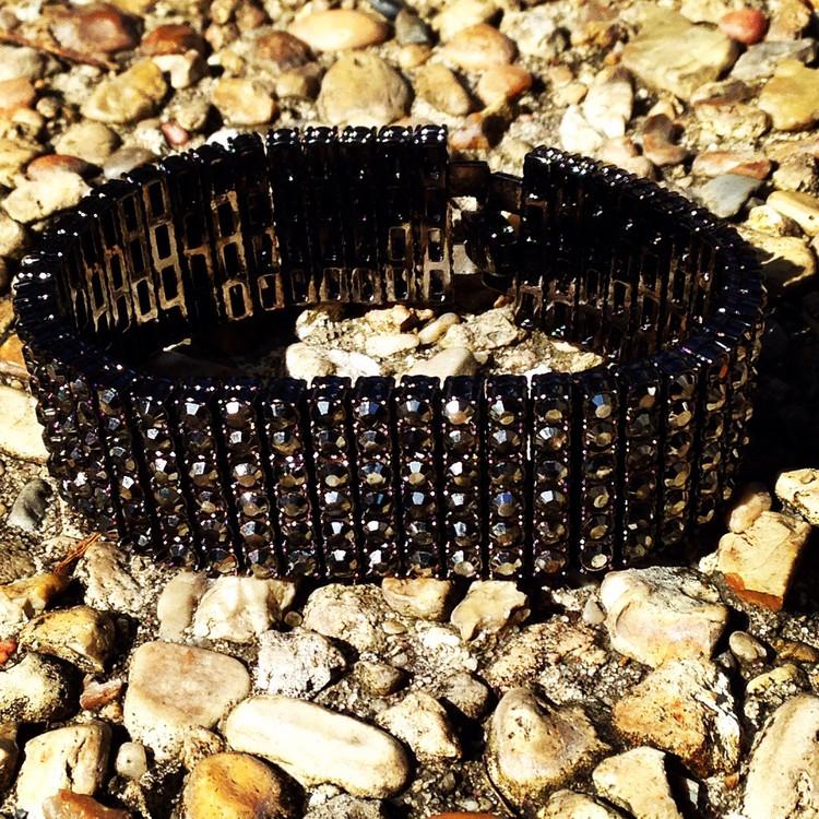 Iced Out 6 Row Pharaoh Cz Bling Bracelet Black