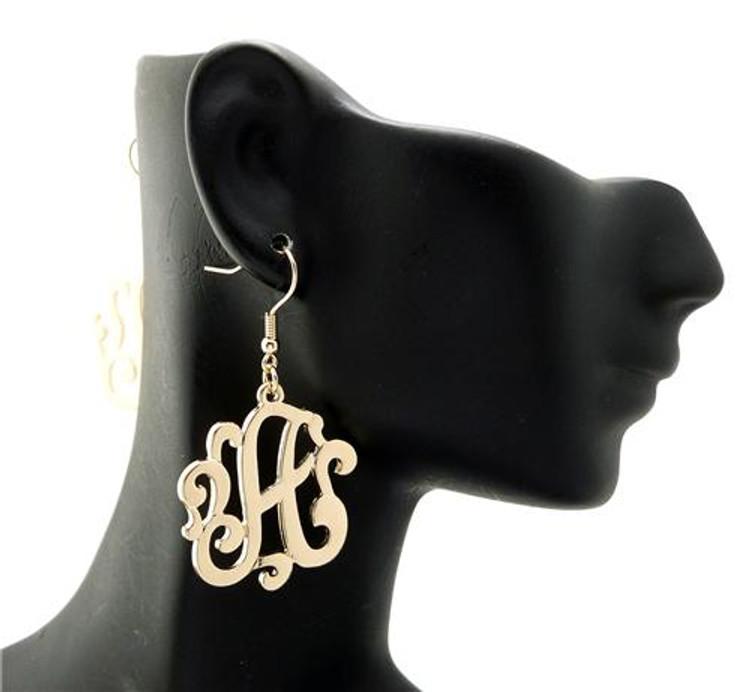 Ladies Gold Monogram Initial A Earrings