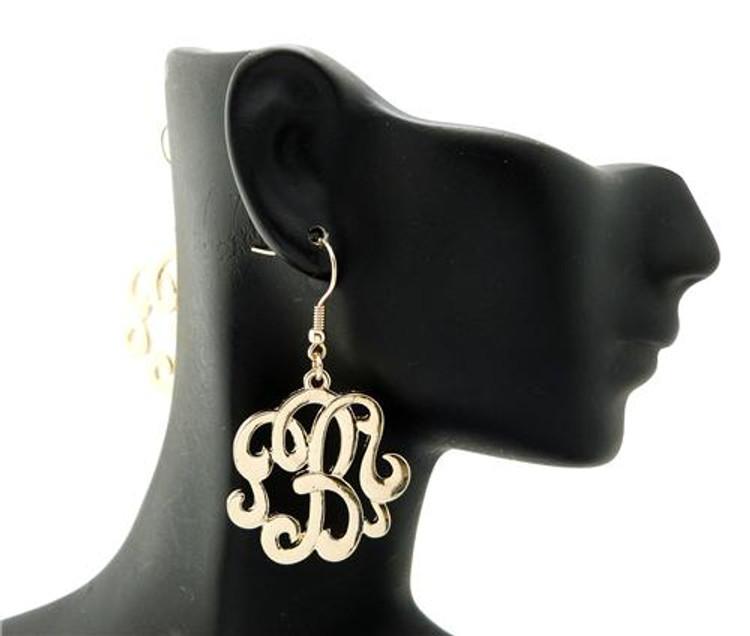 Ladies Gold Monogram Initial B Earrings