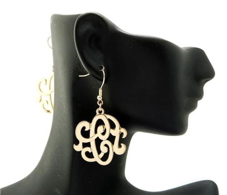 Ladies Gold Monogram Initial C Earrings