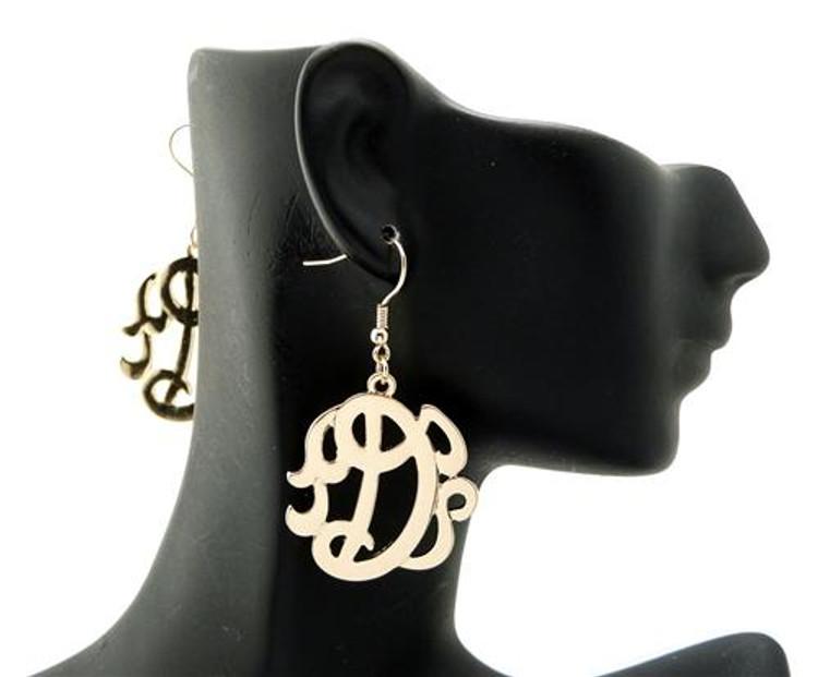 Ladies Gold Monogram Initial D Earrings