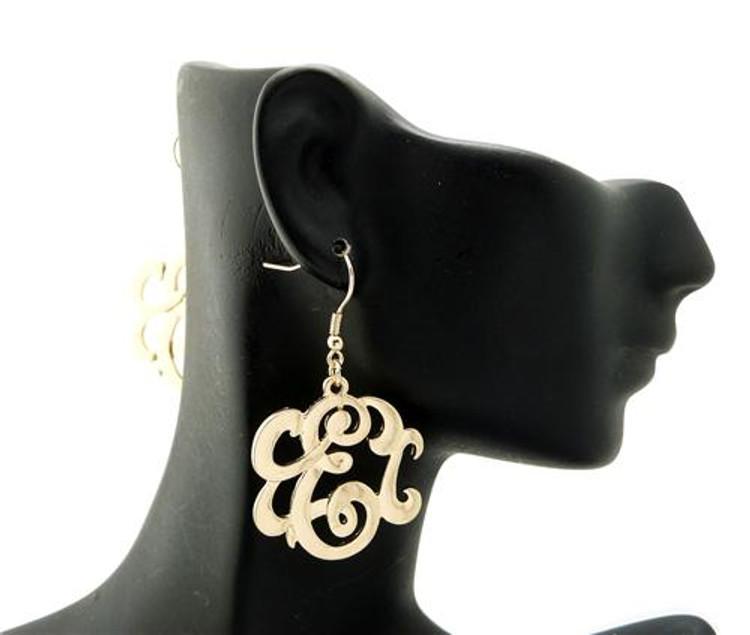 Ladies Gold Monogram Initial E Earrings