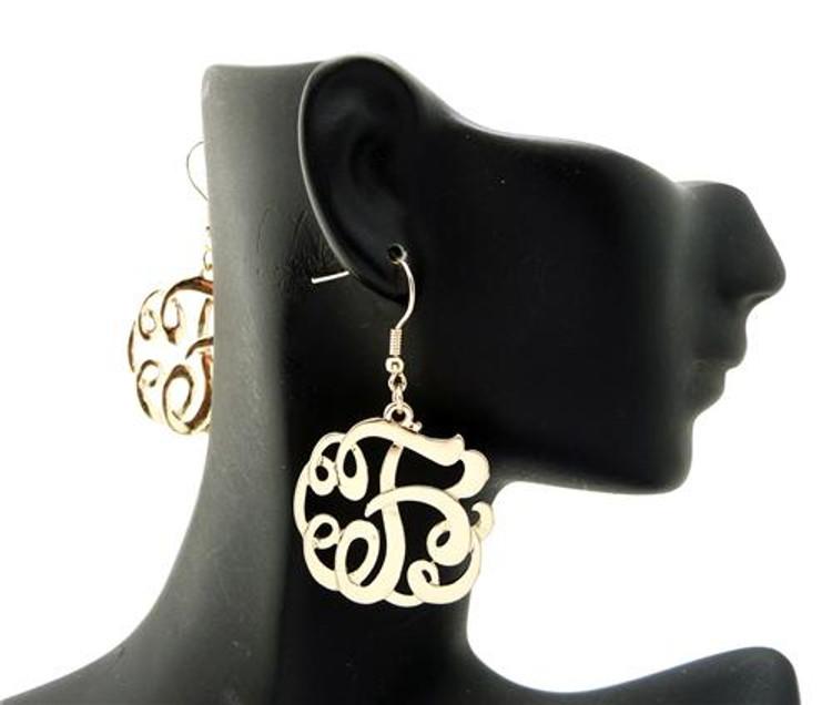 Ladies Gold Monogram Initial F Earrings