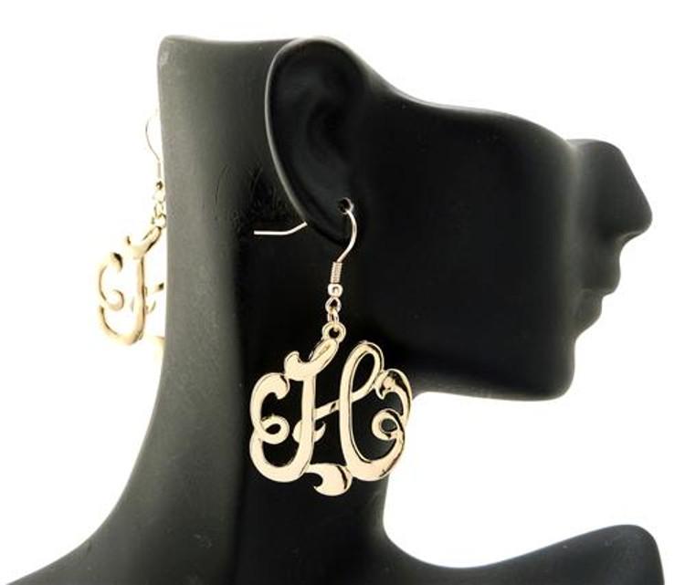 Ladies Gold Monogram Initial H Earrings