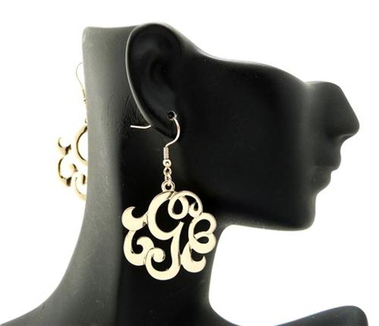 Ladies Gold Monogram Initial G Earrings