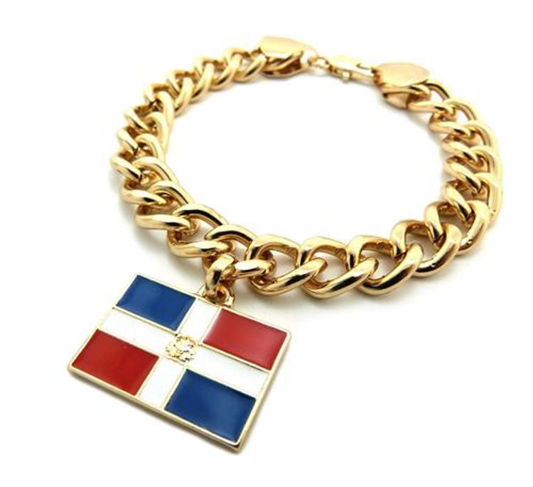 Dominican Republic Flag Gold Link Hip Hop Bracelet