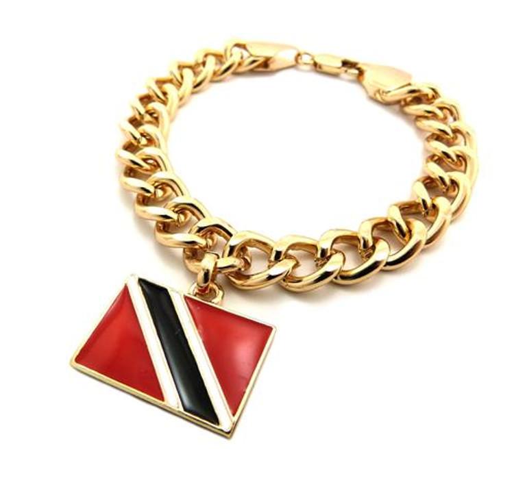TRINIDAD AND TOBAGO Flag Gold Link Hip Hop Bracelet