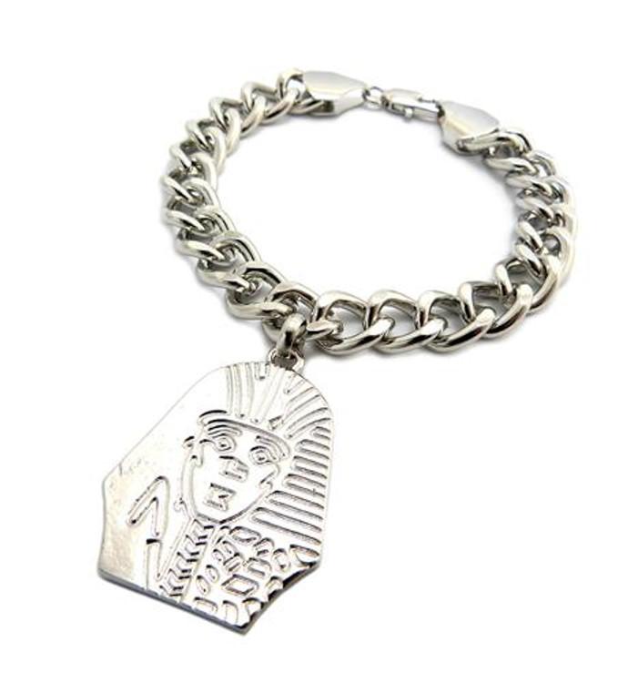 King Tut Hip Hop Rhodium Silver Bracelet