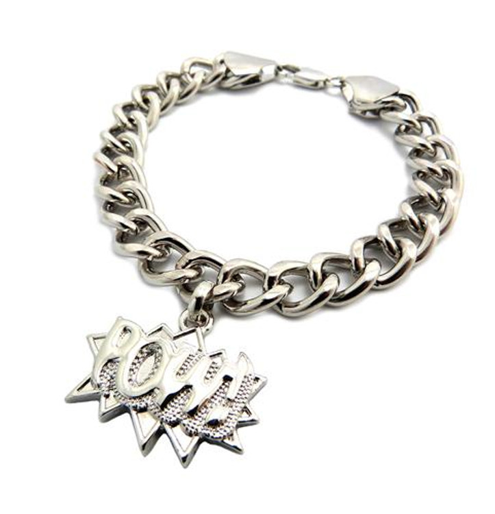POW 925 Sterling Silver Hip Hop Bracelet