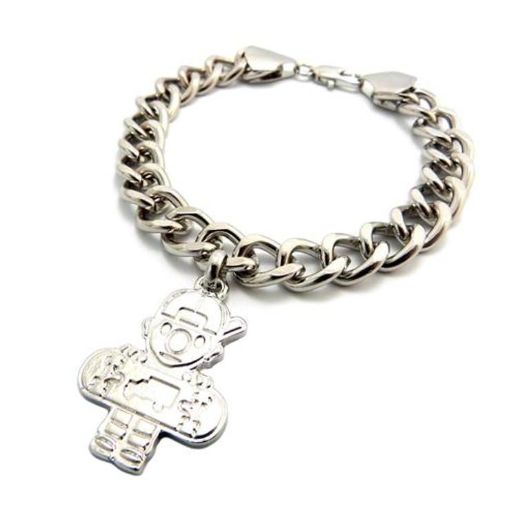 Skateboard Hip Hop Link Bracelet Silver