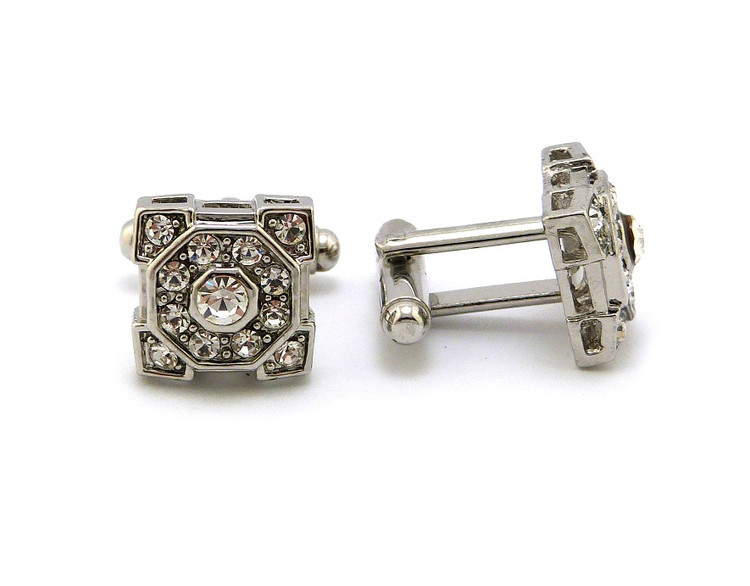 Men's Iced Out Squared Octagon Cz Cufflinks