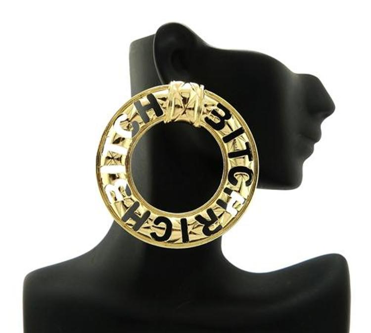 "Celebrity Inspired ""Rich Bitch"" Gold Earrings"