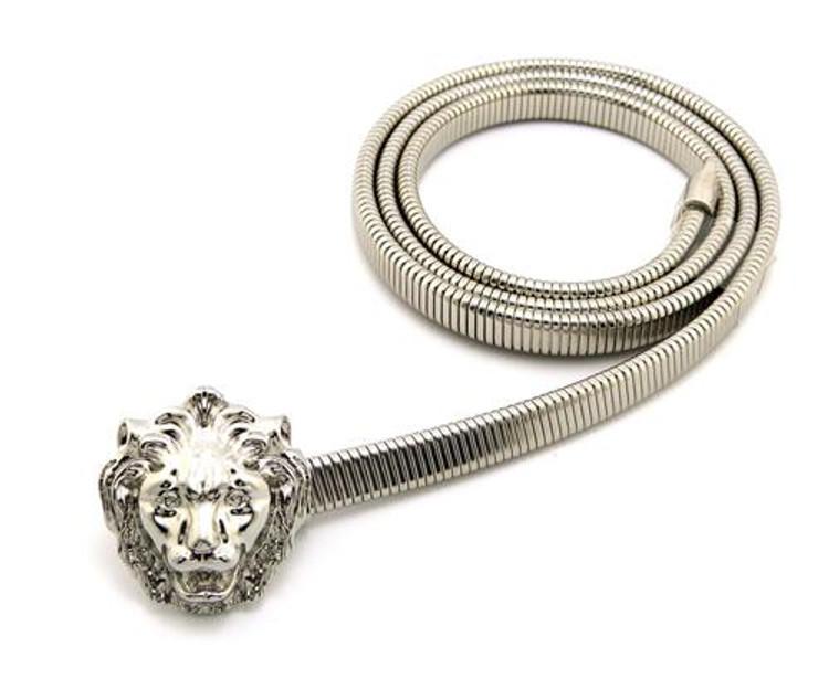 Women's Lion Head Stretch Snake Belt Silver