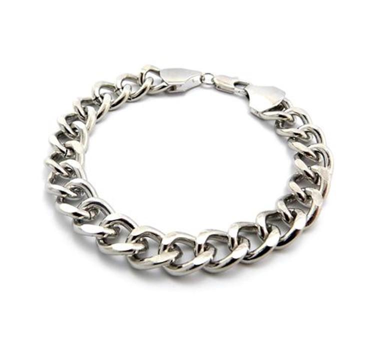 10mm Cuban Link Style Rhodium Silver Bracelet