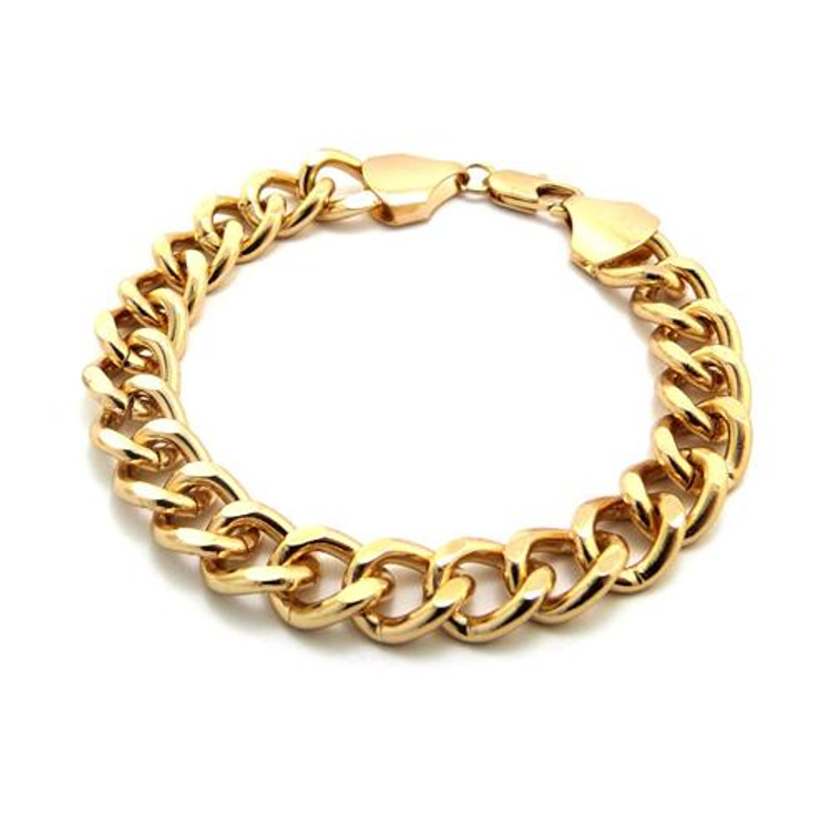 10mm Cuban Link Style 14k Gold GP Bracelet
