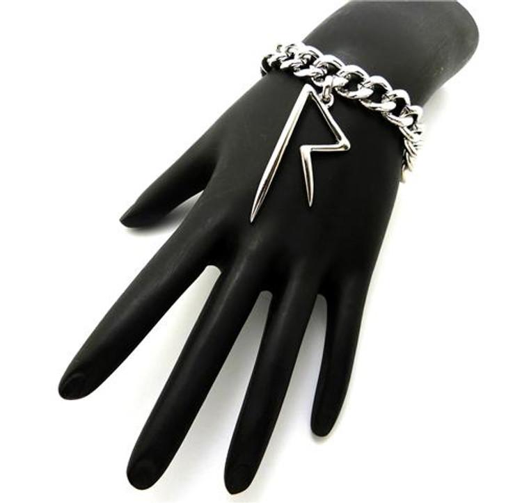 """Rihanna Inspired Rhodium Silver """"R"""" Bracelet"""
