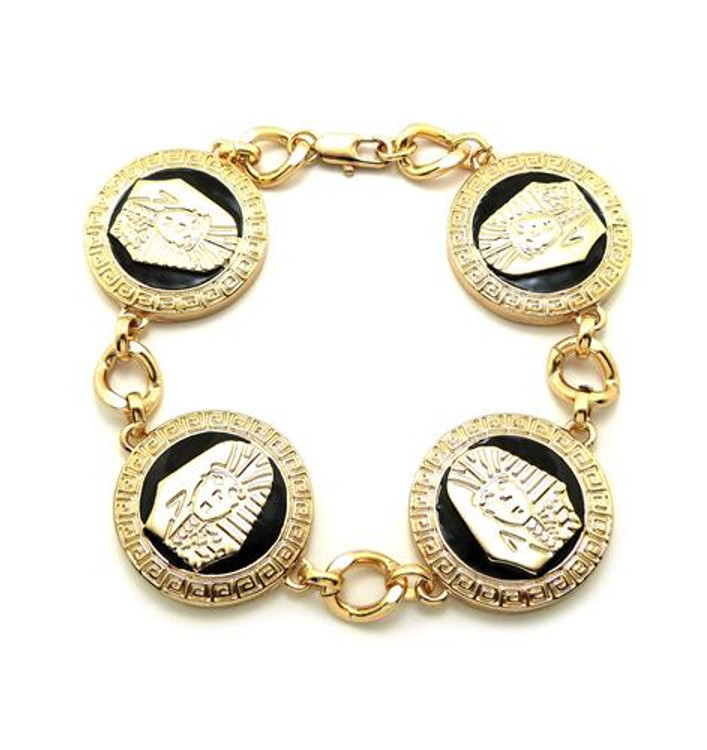 Egyptian King Tut 14k Gold GP Black Enameled Bracelet