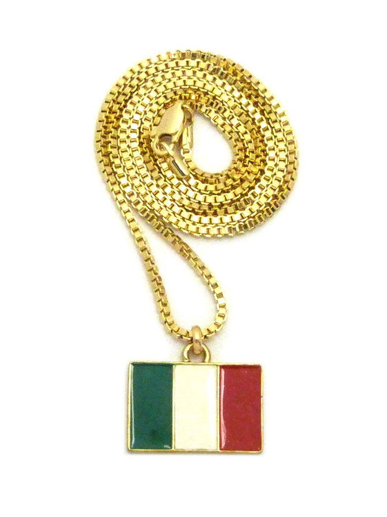 14k Gold Italy Italian Flag Pendant Box Chain