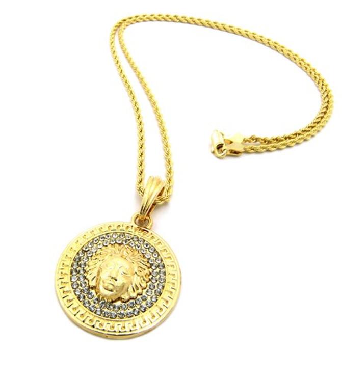 Medusa Illuminati Snake Head Pendant w/ Rope Chain