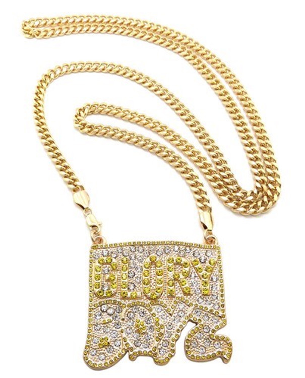 Iced Out CZ Glory Boyz Hip Hop Pendant Chain Gold