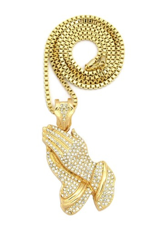Iced Out Prayer Hands Pendant w/ Box Link Chain Gold