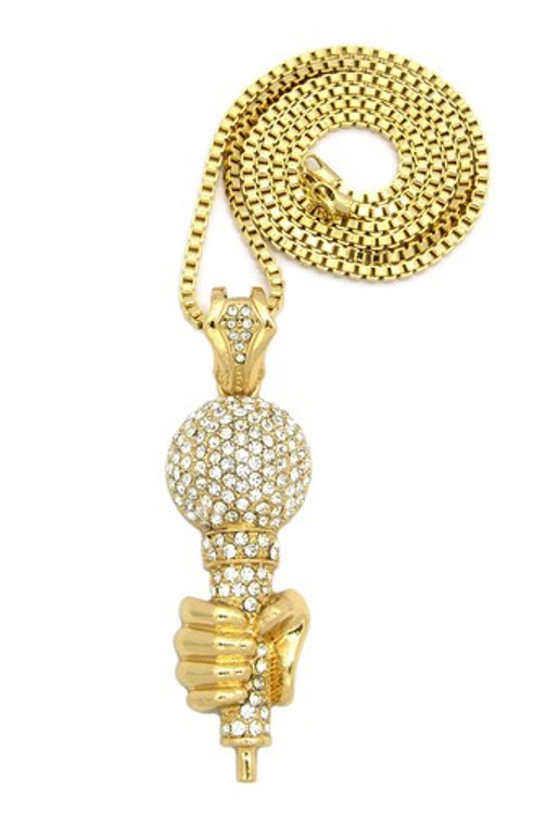 Hip Hop One Mic Microphone Pendant w/ Box Link Chain Gold