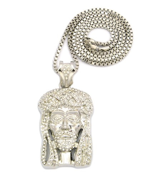 CZ Iced Out Jesus Piece Pendant w / Box Link Chain Silver
