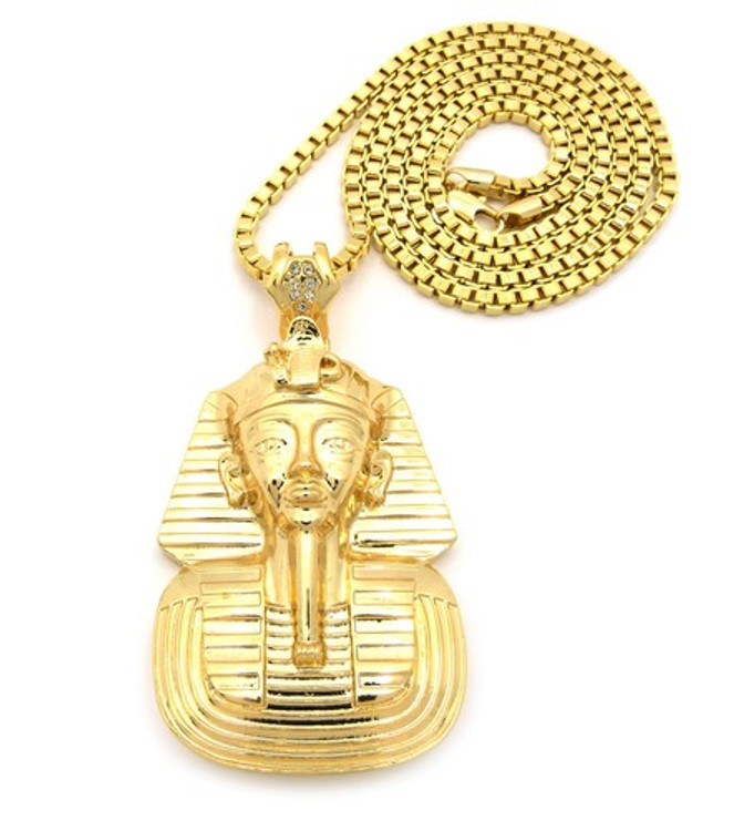Egyptian King Tut Hop Hop Pendant w/ Box Link Chain Gold
