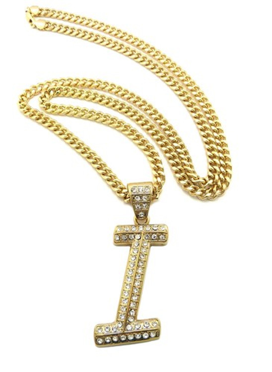 Iced Out Initial I Gold Pendant w/ Miami Cuban Link Chain