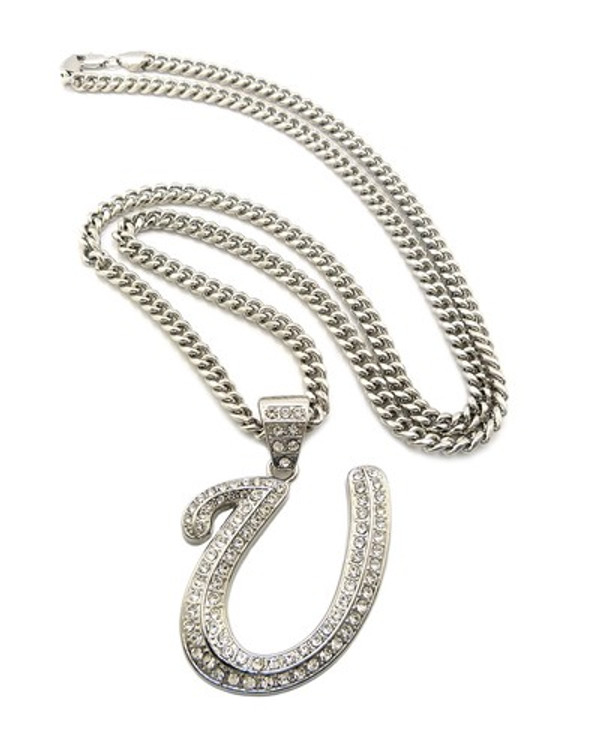 Iced Out Initial U Silver Pendant w/ Miami Cuban Link Chain