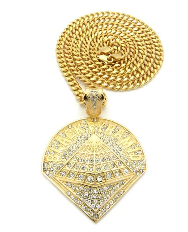 Chris Brown Inspired Black Pyramid 14K Gold Hip Hop Pendant