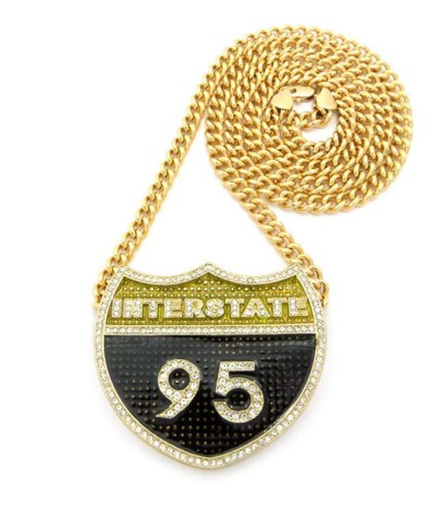 Iced Out Interstate 10 Cz Pendant & Chain Gold