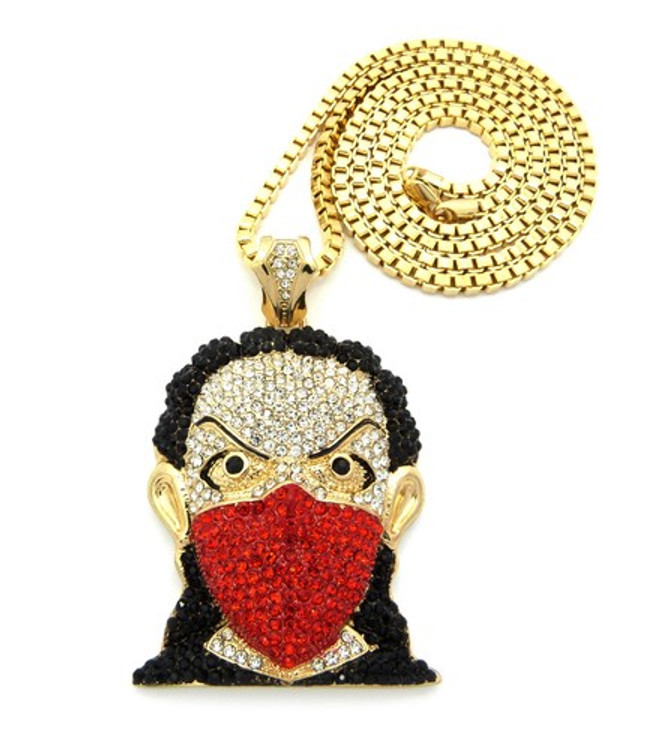Hip Hop Boondocks Goon Cz Riley Inspired Pendant & Chain Gold