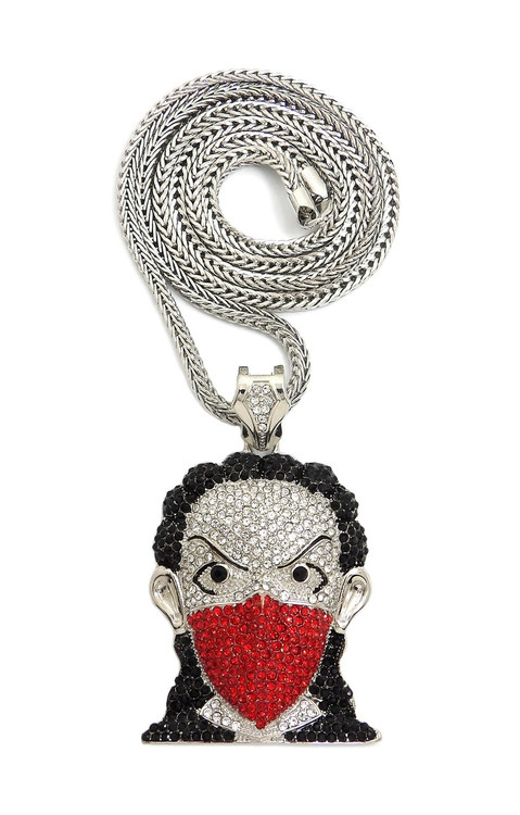 Hip Hop Boondocks Goon Cz Riley Inspired Pendant Chain Silver