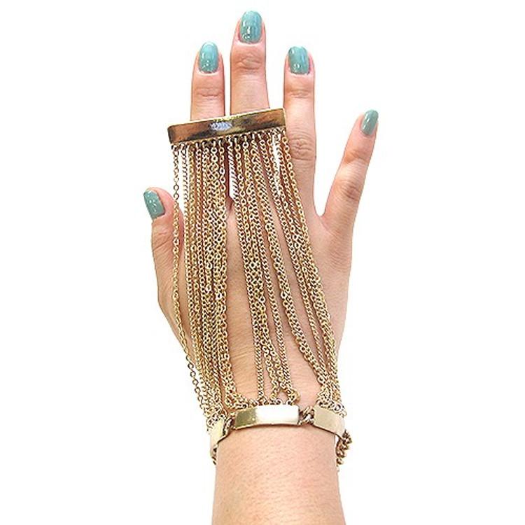 Ladies High Fashion Sexy 2 Finger Ring Glove Bracelet Gold