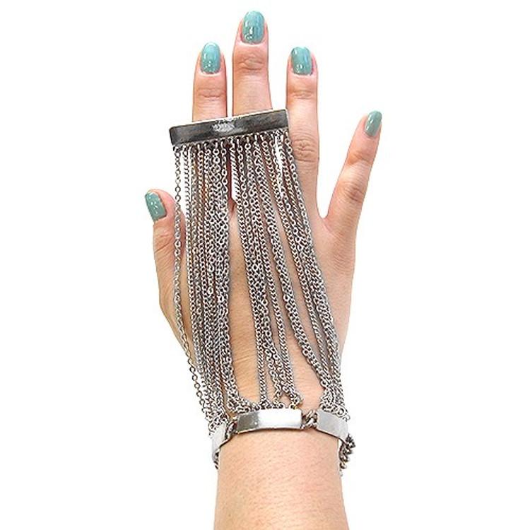 Ladies High Fashion Sexy 2 Finger Ring Glove Bracelet Silver