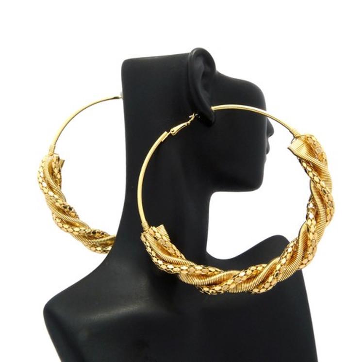 Ladies Half Spiral Big Hoop Earrings Gold