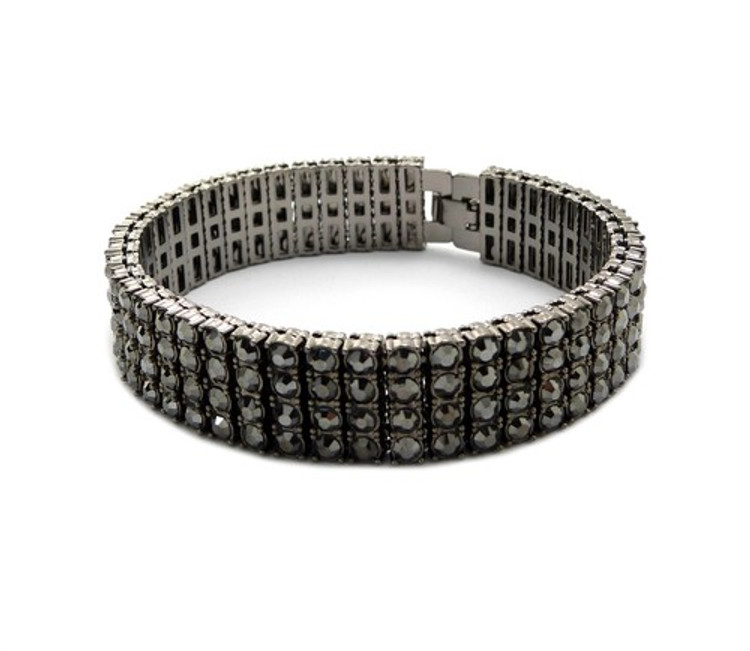 Iced Out 4 Row Pharaoh Simulated Diamond Bracelet Black
