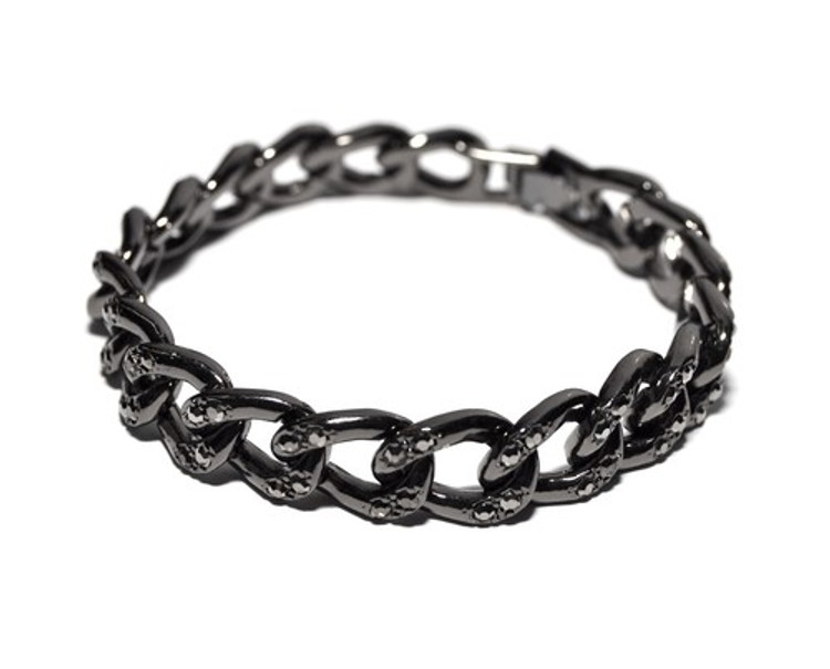 Hip Hop Simulated Diamond Cuban Link Chain Bracelet Black