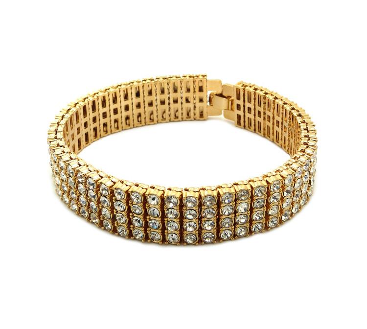 Iced Out 4 Row Pharaoh Diamond Cz Bling Bracelet 14k Gold